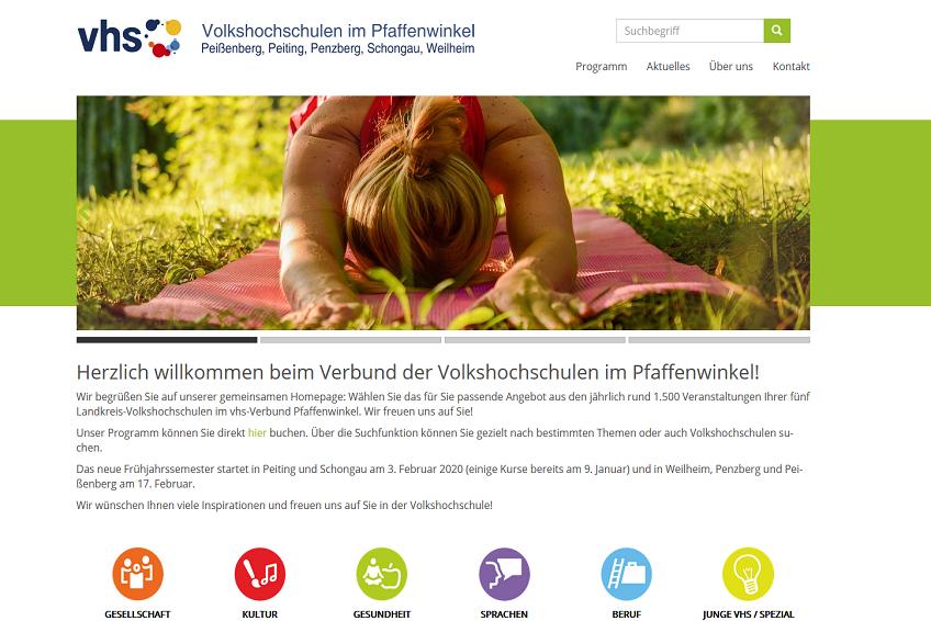 Neue Homepage der Volkshochschulen im Pfaffenwinkel